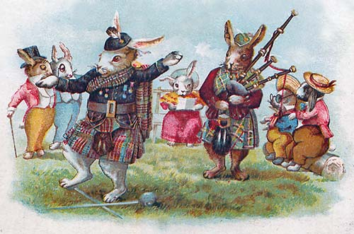 Anthropomorphic Rabbit playing bagpipe 1904