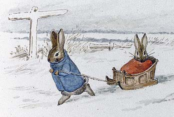 Rabbit pulling sled, anthropomorphic art by Beatrix Potter 1894